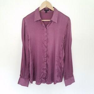 Ann Taylor 100%Silk Button Down Shirt Top Sz 12